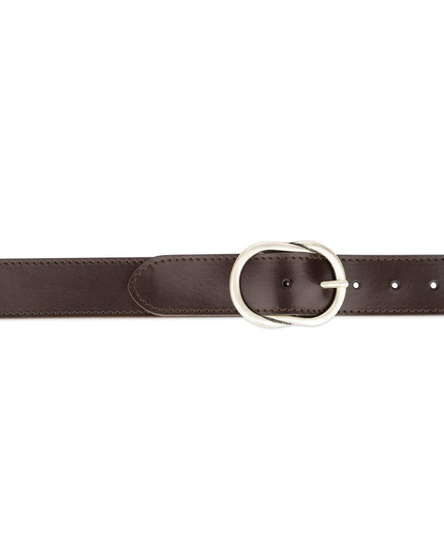brown womens belt with rounded buckle 2