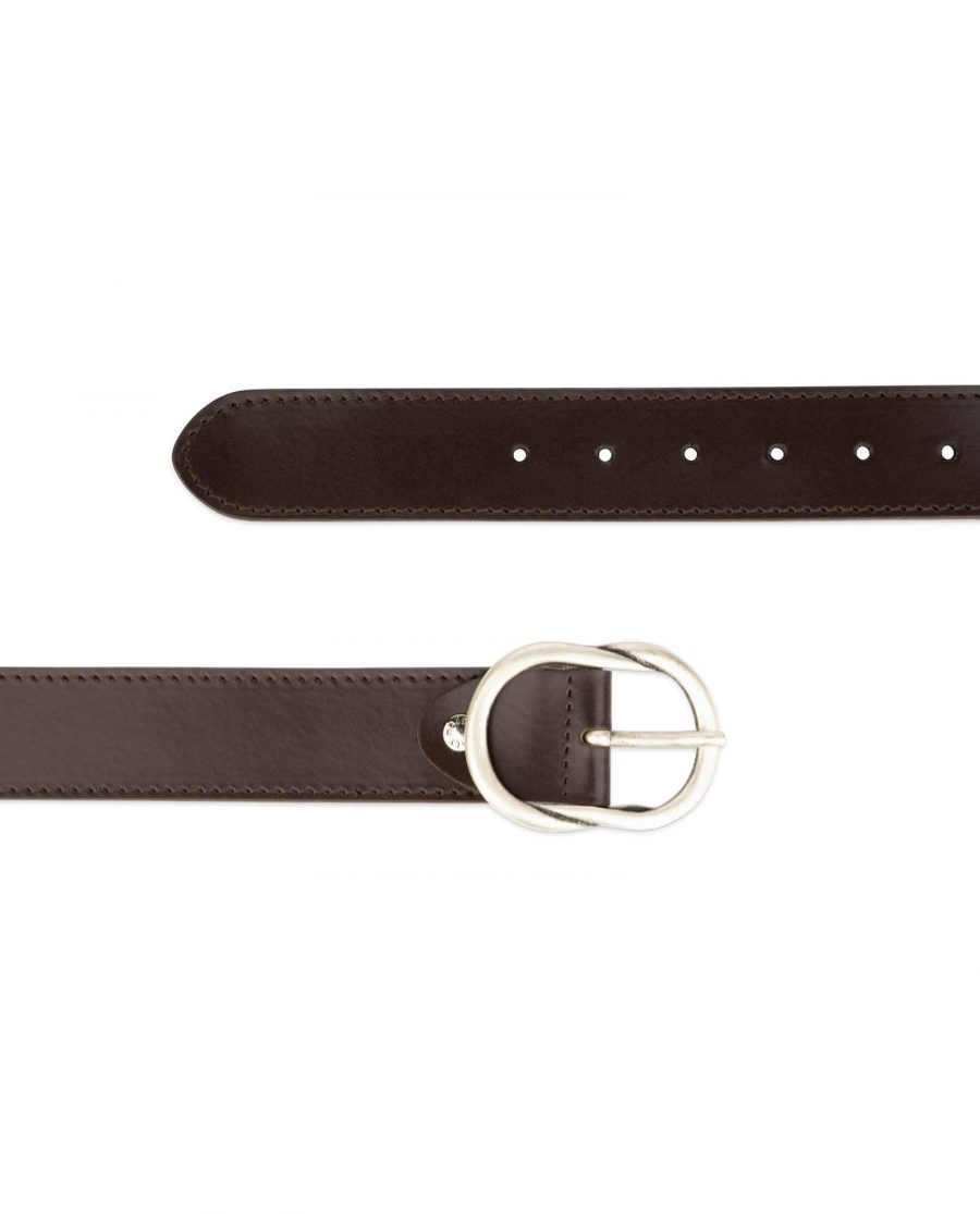 brown womens belt with rounded buckle 3