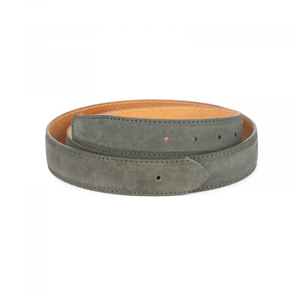 gray leather belt strap for 35 mm buckles 1