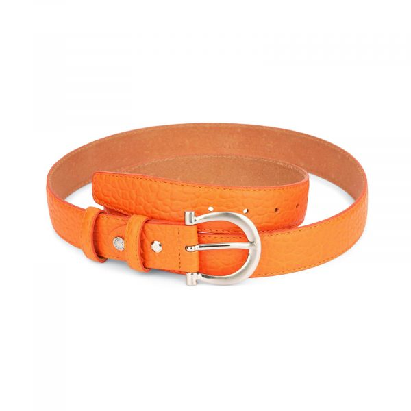 orange womens belt real leather with silver buckle 1