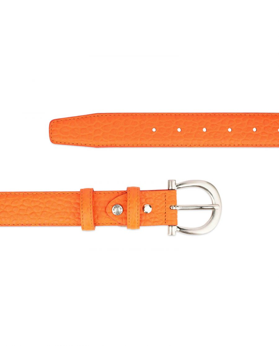 orange womens belt real leather with silver buckle 2