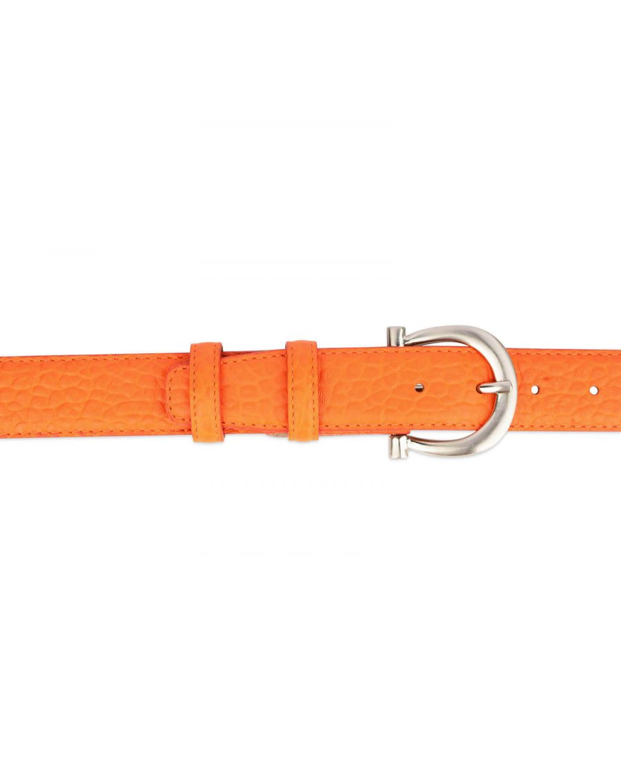 orange womens belt real leather with silver buckle 3