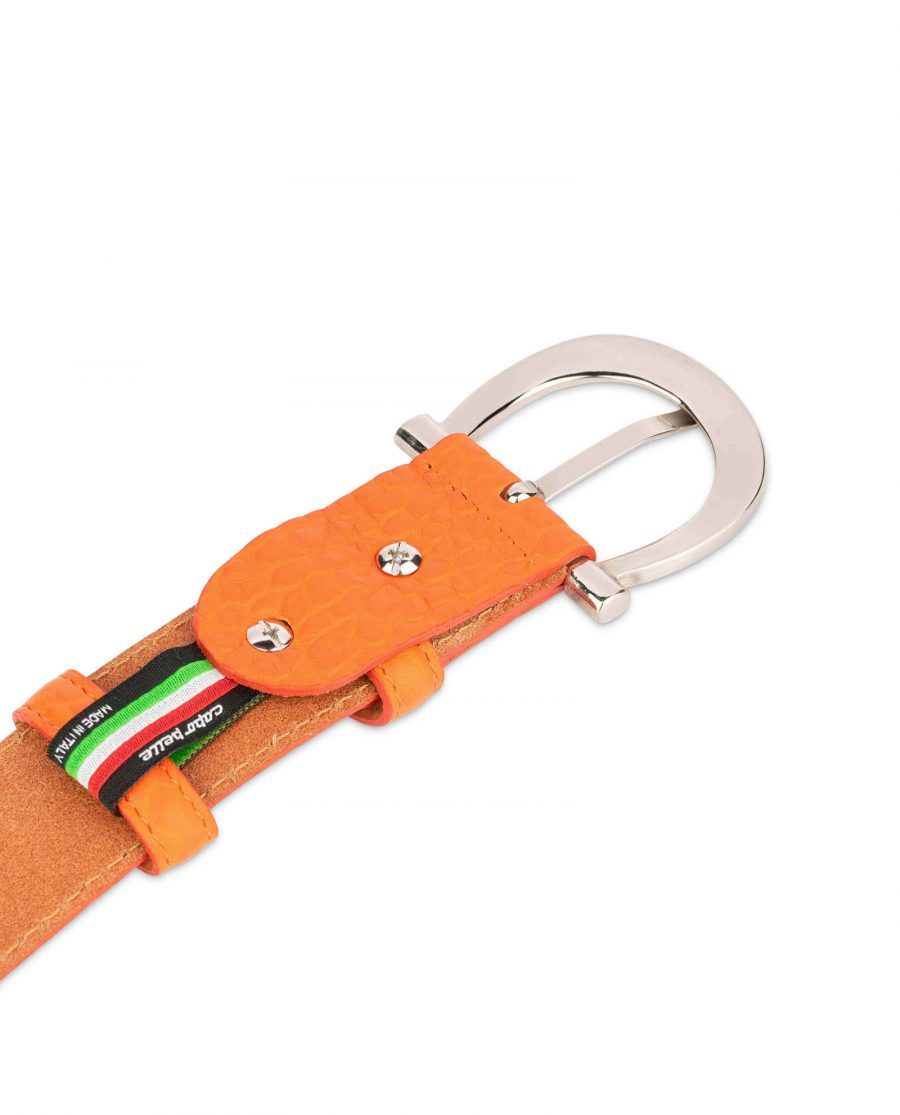 orange womens belt real leather with silver buckle 4