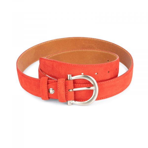 red suede belt for women with horse shoe buckle 1