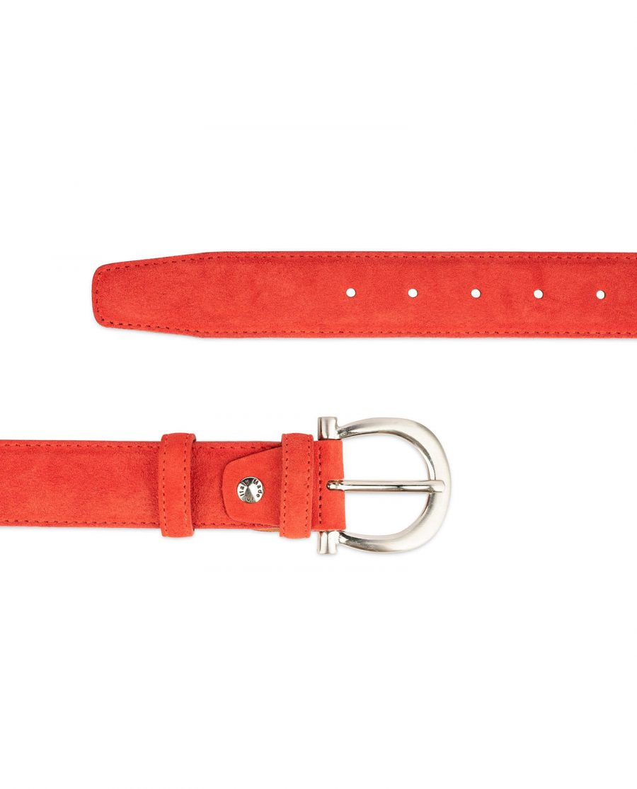 red suede belt for women with horse shoe buckle 2