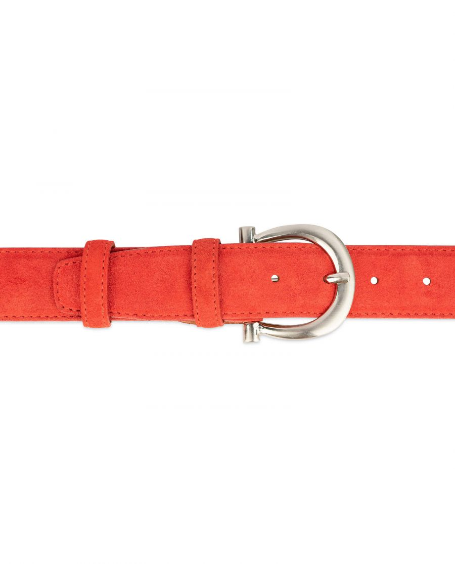 red suede belt for women with horse shoe buckle 3