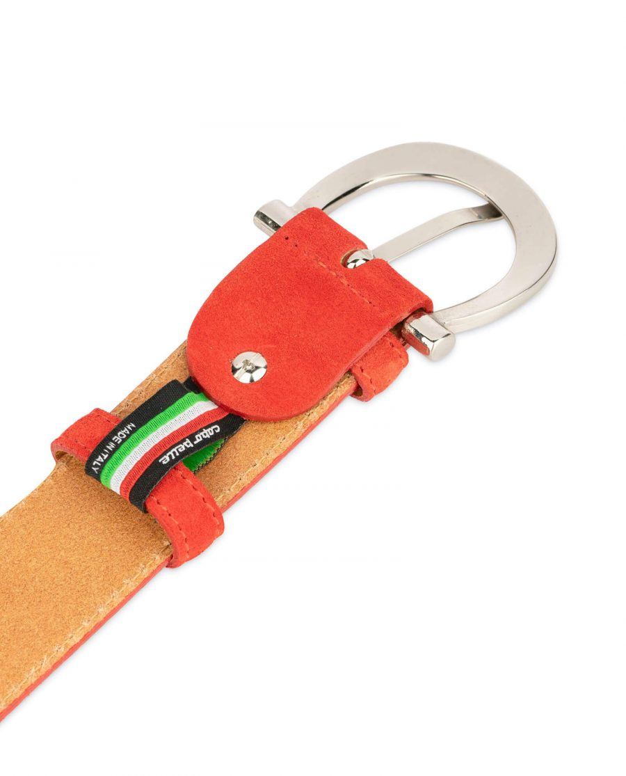 red suede belt for women with horse shoe buckle 4