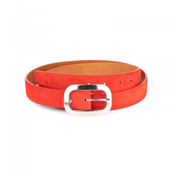 red suede belt with oval womens buckle 1