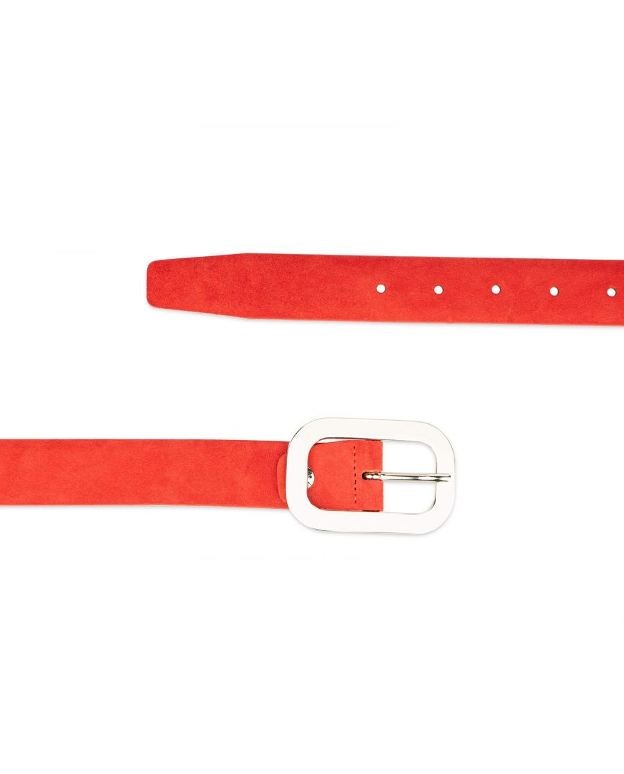 red suede belt with oval womens buckle 2