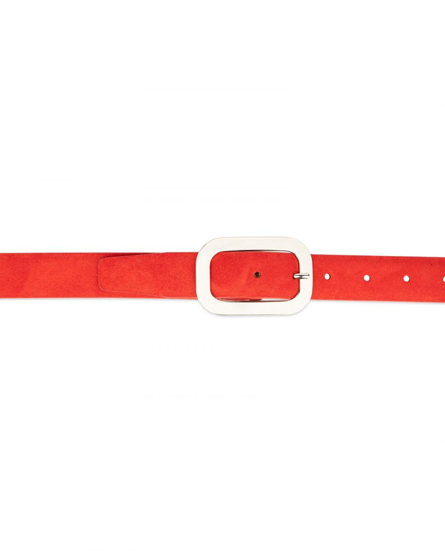 red suede belt with oval womens buckle 3