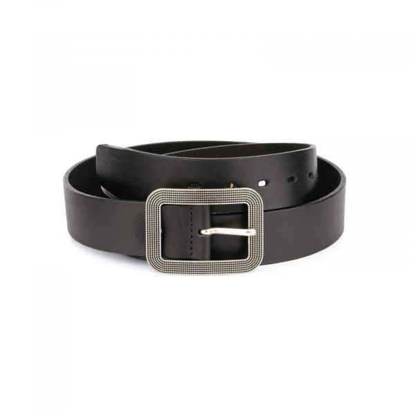 thick womens belts black full grain leather 2