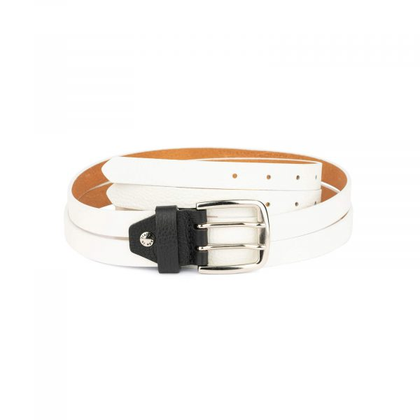 white womens two prong belt real leather 2