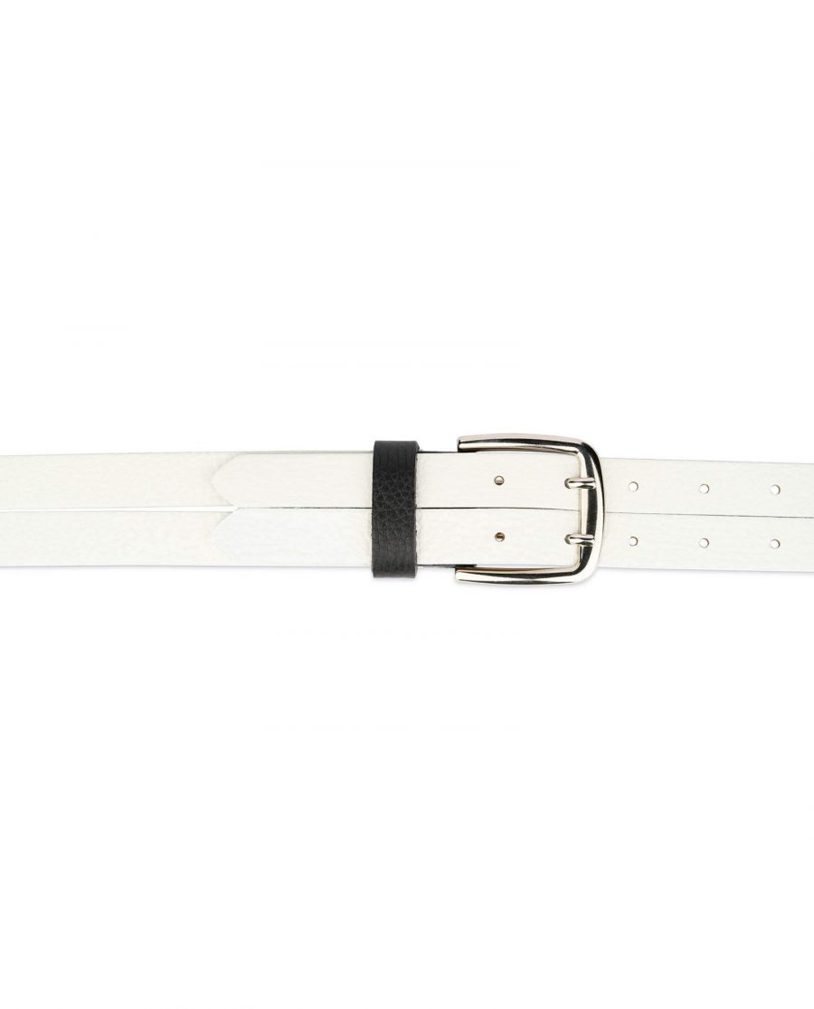 white womens two prong belt real leather 4