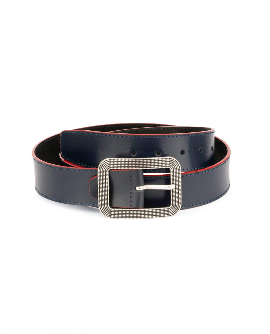 wide womens blue belt with rounded corner buckle 1
