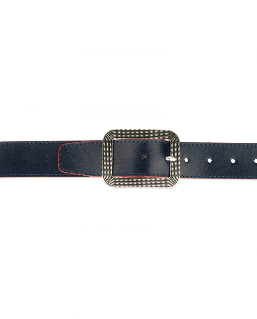 wide womens blue belt with rounded corner buckle 2