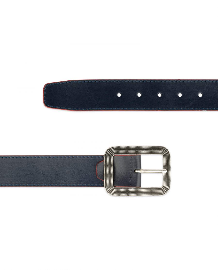 wide womens blue belt with rounded corner buckle 3