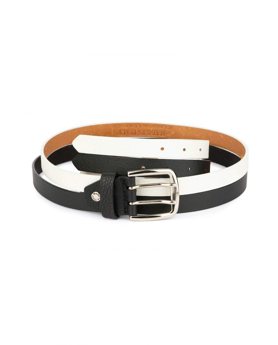womens black and white belt with two prong buckle 2