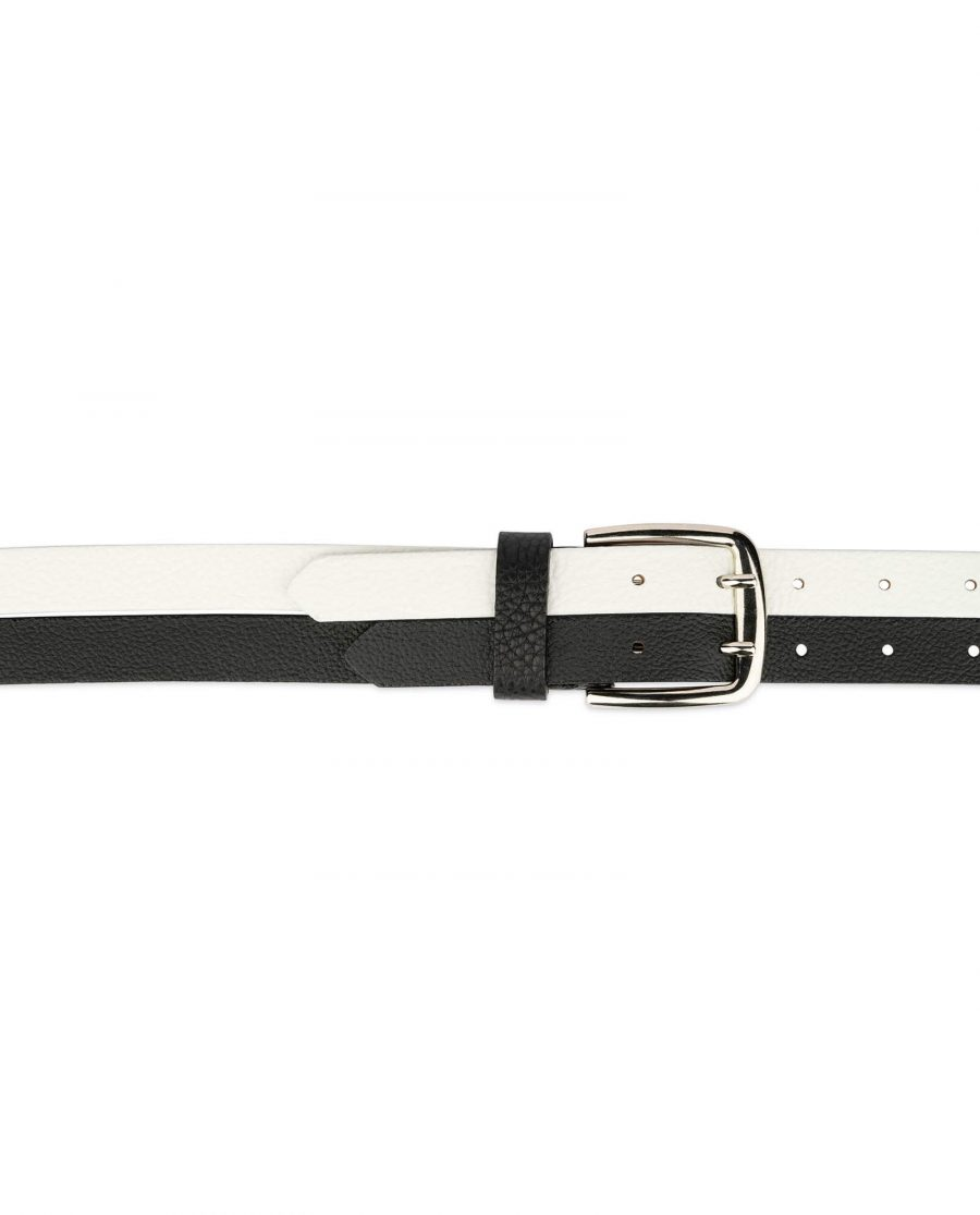 womens black and white belt with two prong buckle 3