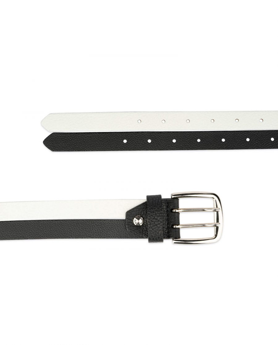 womens black and white belt with two prong buckle 4