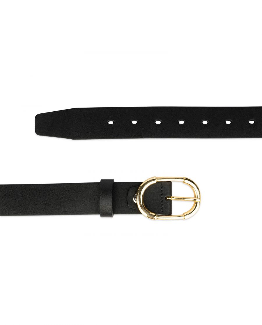 womens black belt with gold buckle full grain leather 3