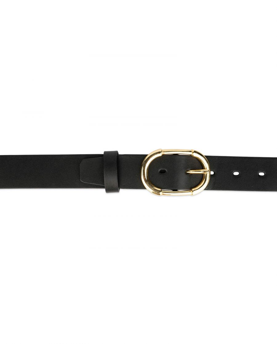 womens black belt with gold buckle full grain leather 4