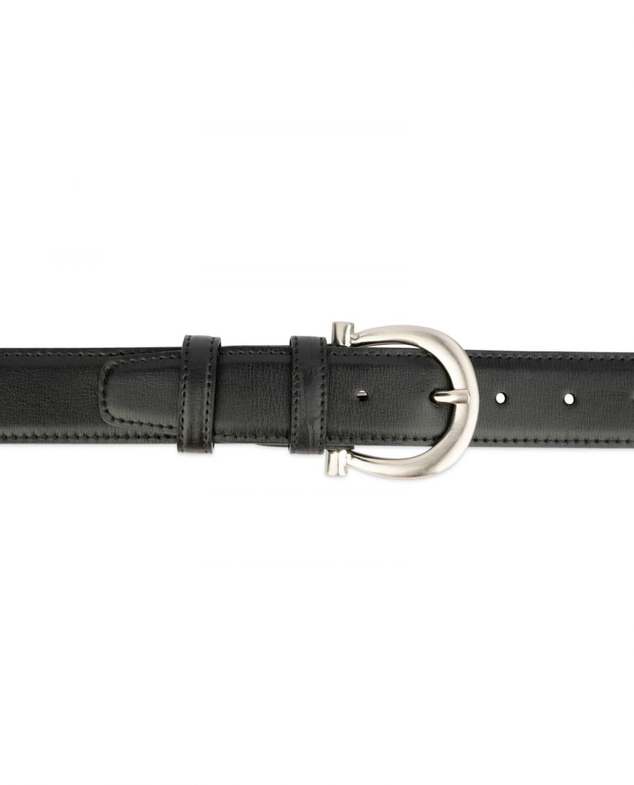 womens black leather belt with stylish buckle 3