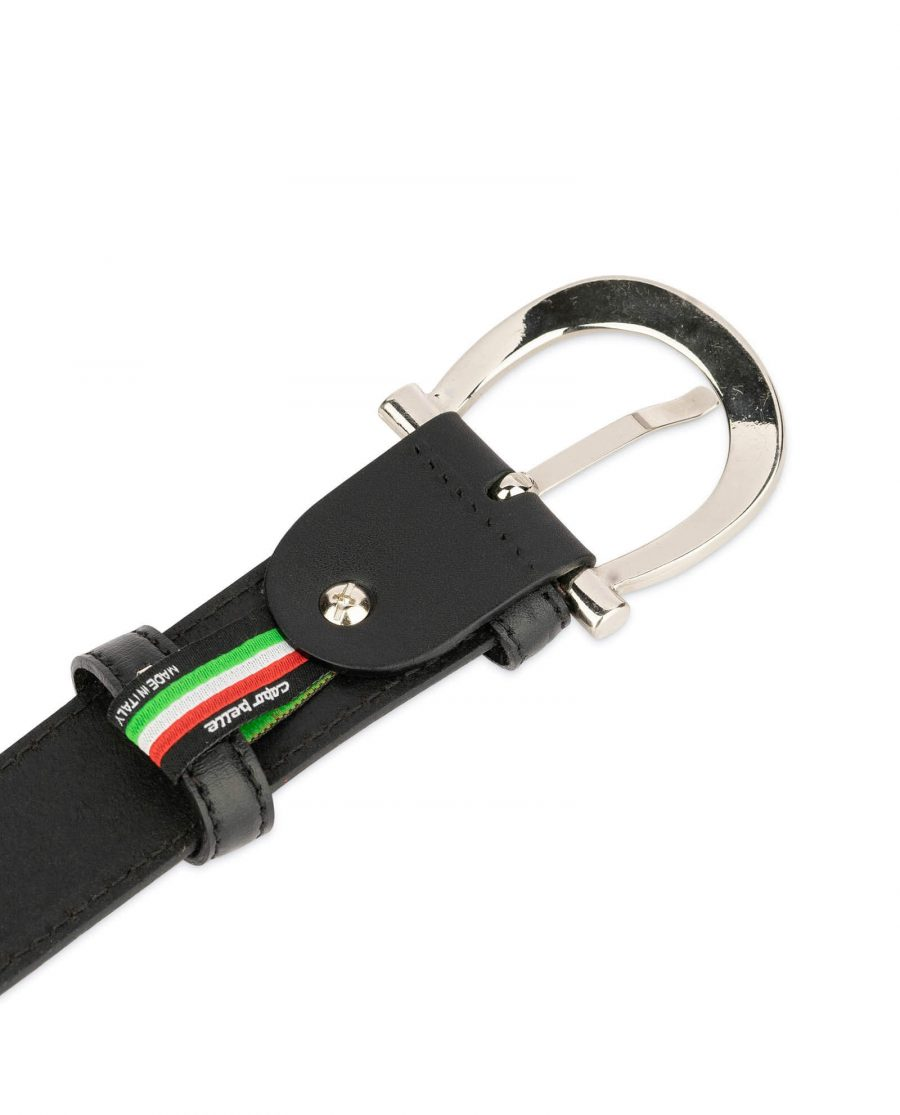 womens black leather belt with stylish buckle 4