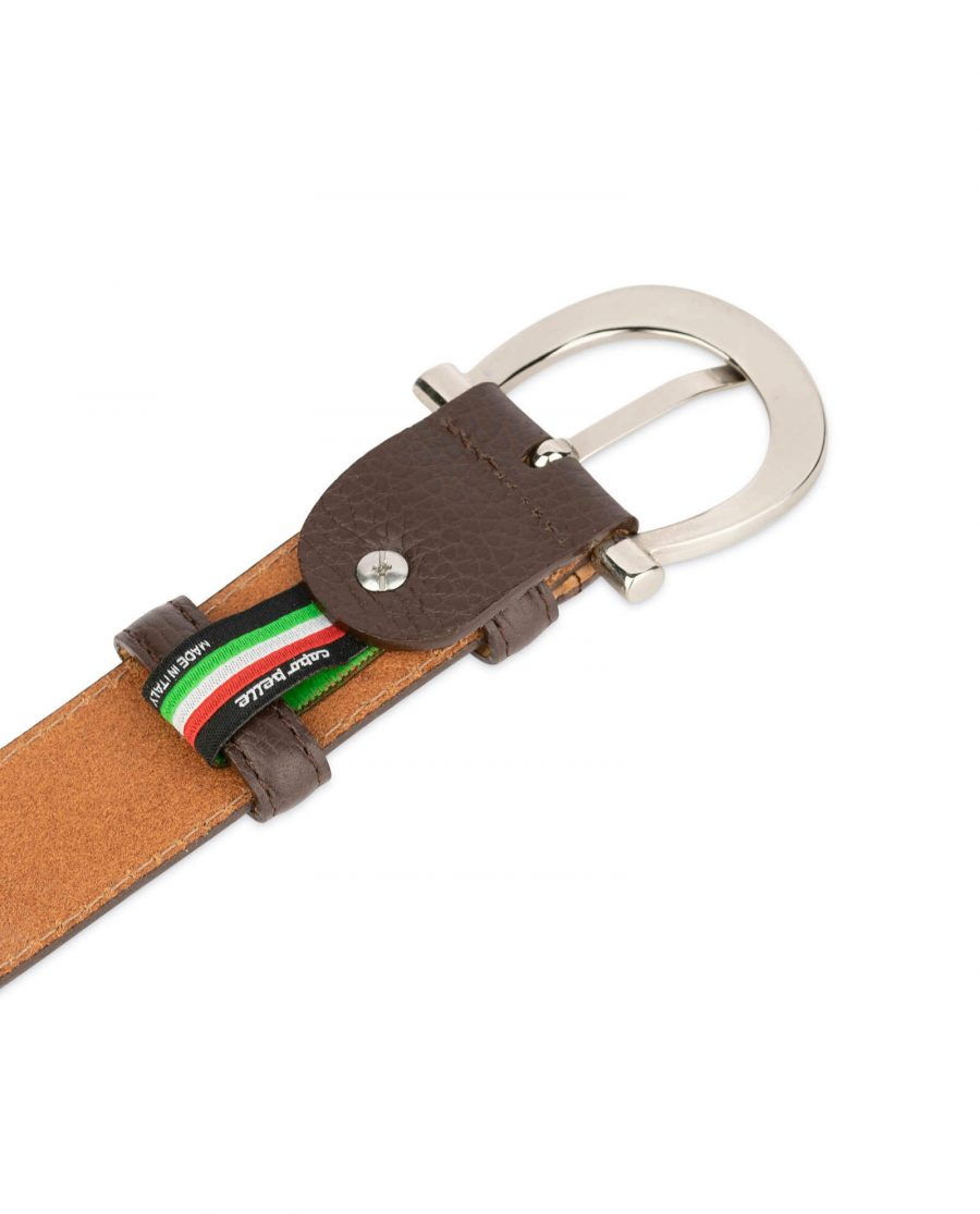 womens brown leather belt with italian buckle 1
