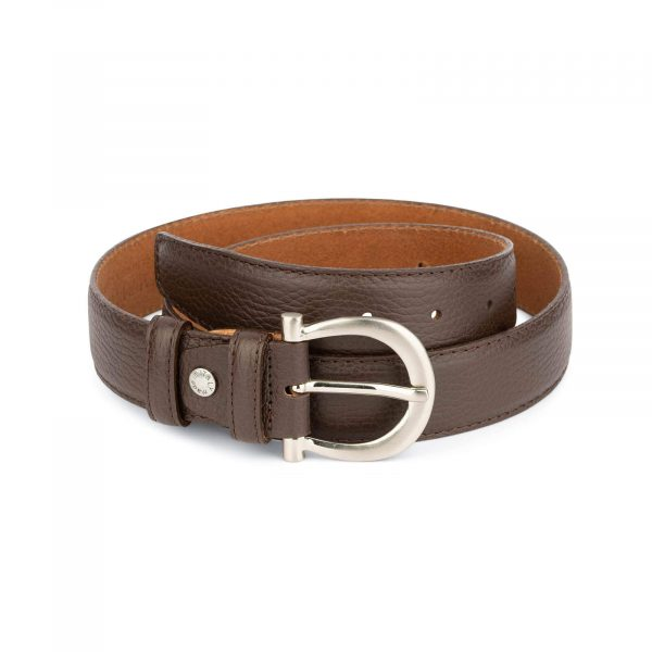 womens brown leather belt with italian buckle 2