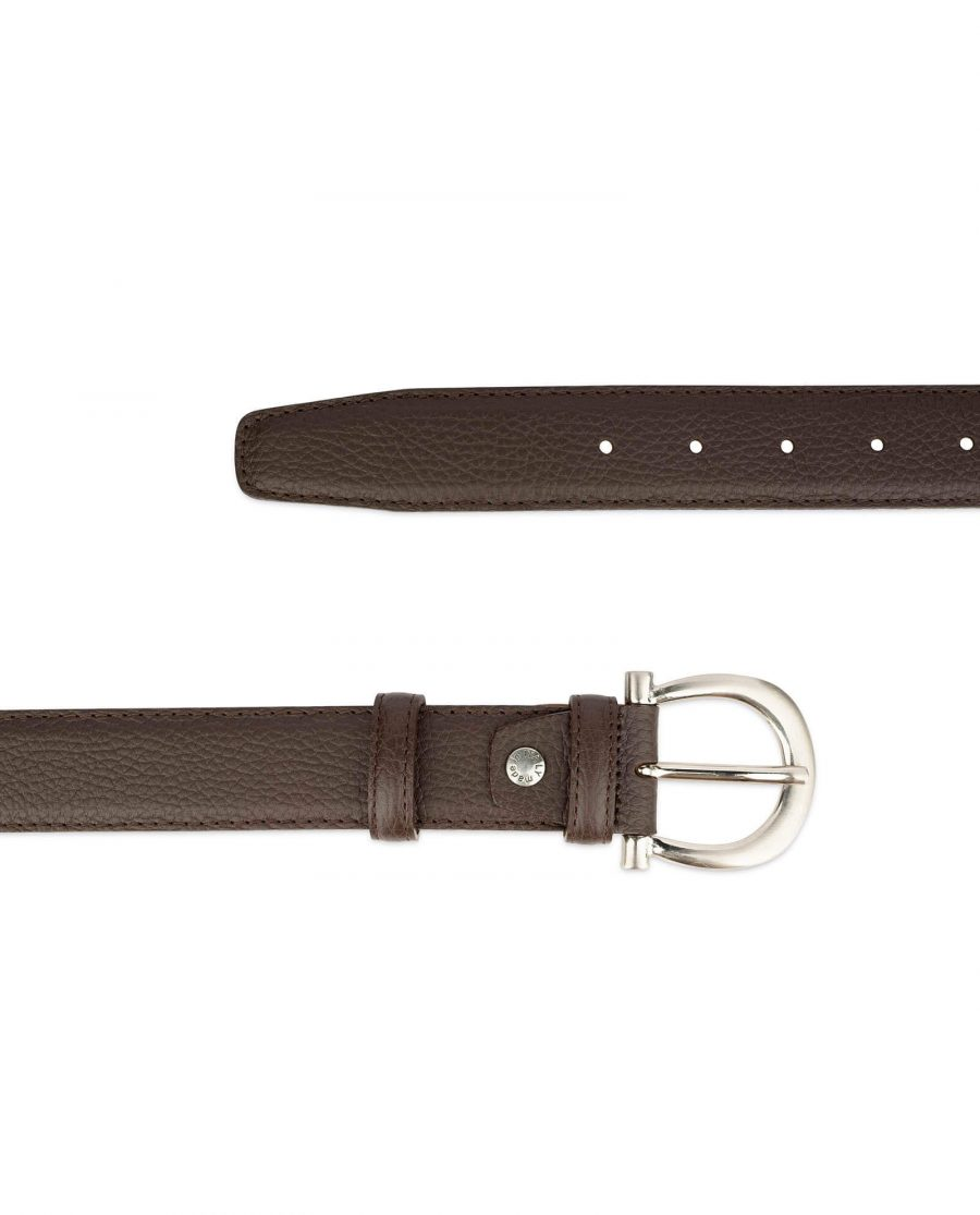 womens brown leather belt with italian buckle 3