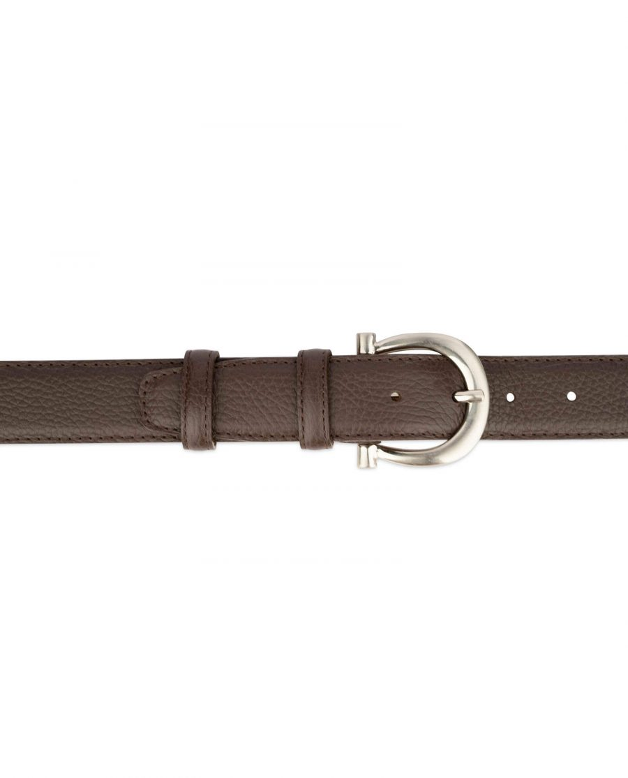 womens brown leather belt with italian buckle 4