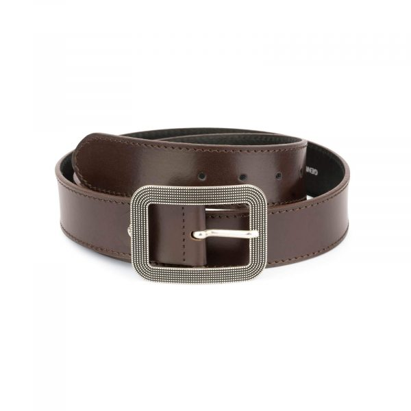 womens brown leather belt with rounded corner buckle 11