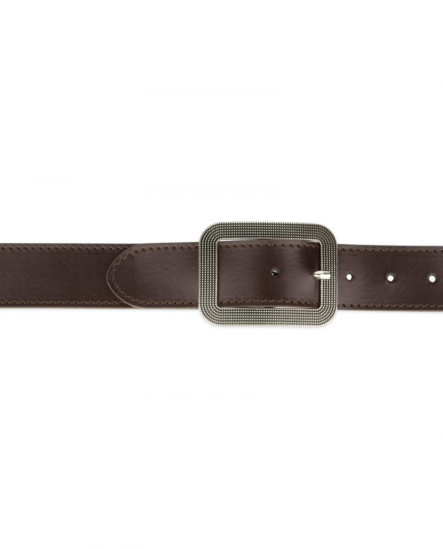 womens brown leather belt with rounded corner buckle 12