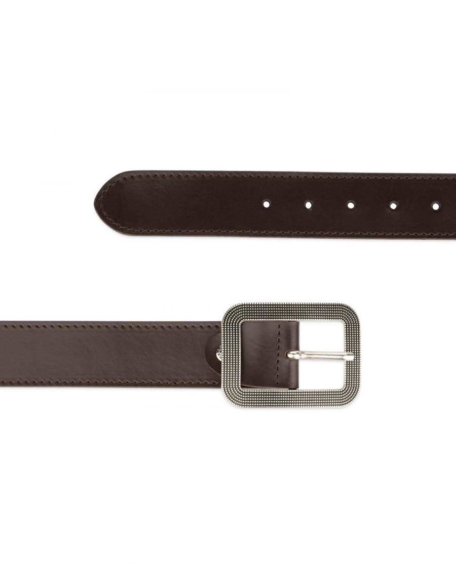 womens brown leather belt with rounded corner buckle 13