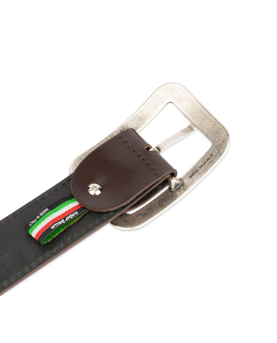 womens brown leather belt with rounded corner buckle 14
