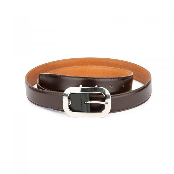 womens brown leather belt with silver buckle 1