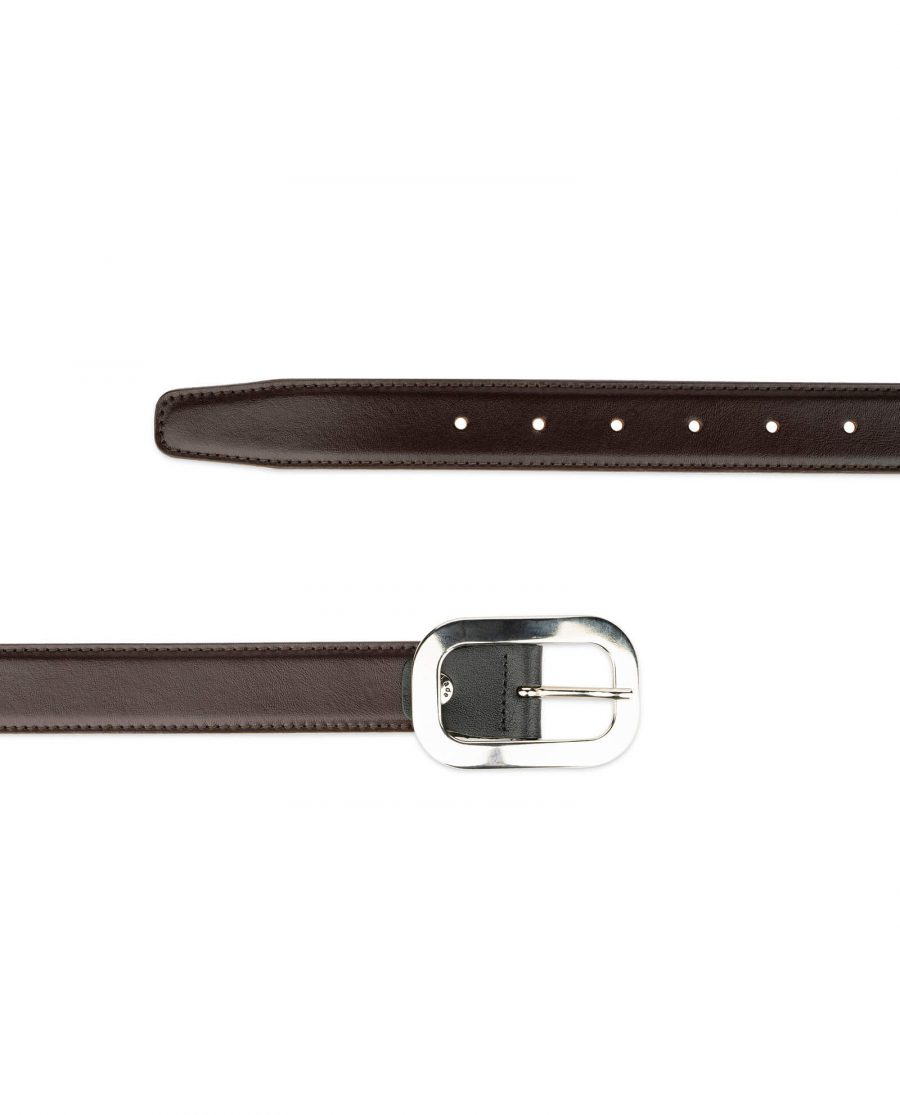 womens brown leather belt with silver buckle 2