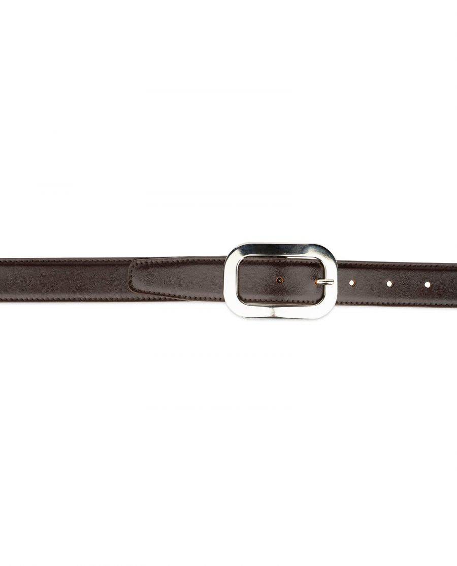 womens brown leather belt with silver buckle 3