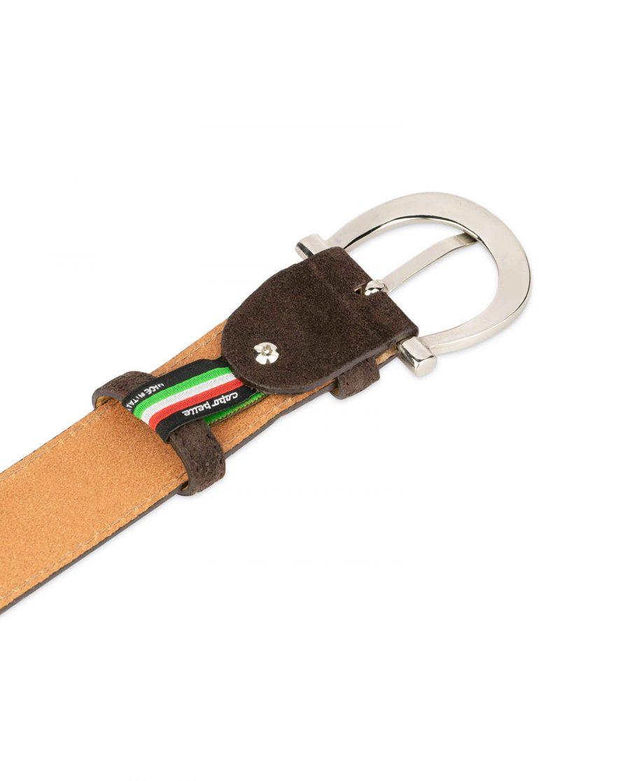 womens brown suede belt with italian buckle 1