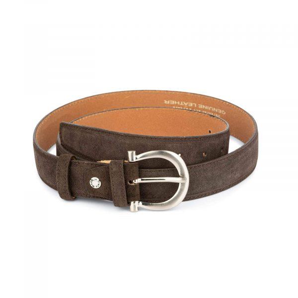 womens brown suede belt with italian buckle 2