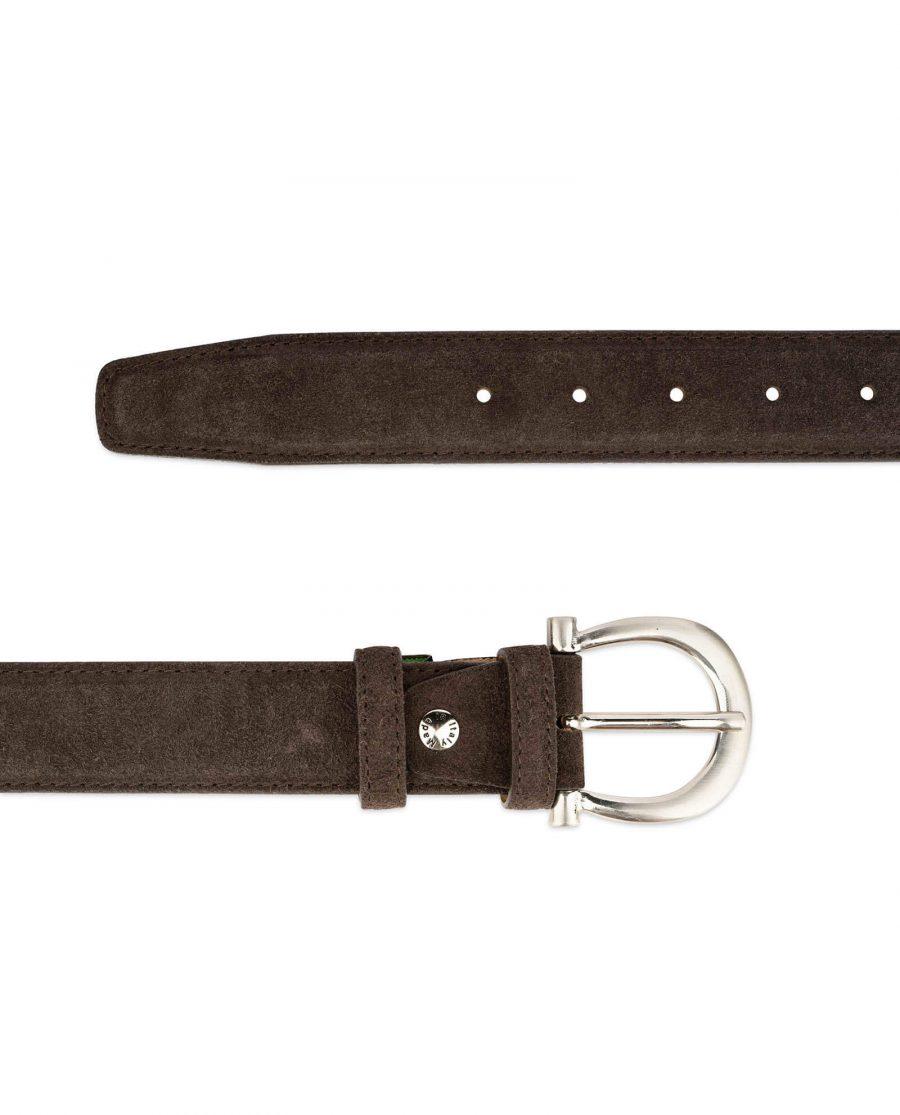 womens brown suede belt with italian buckle 3