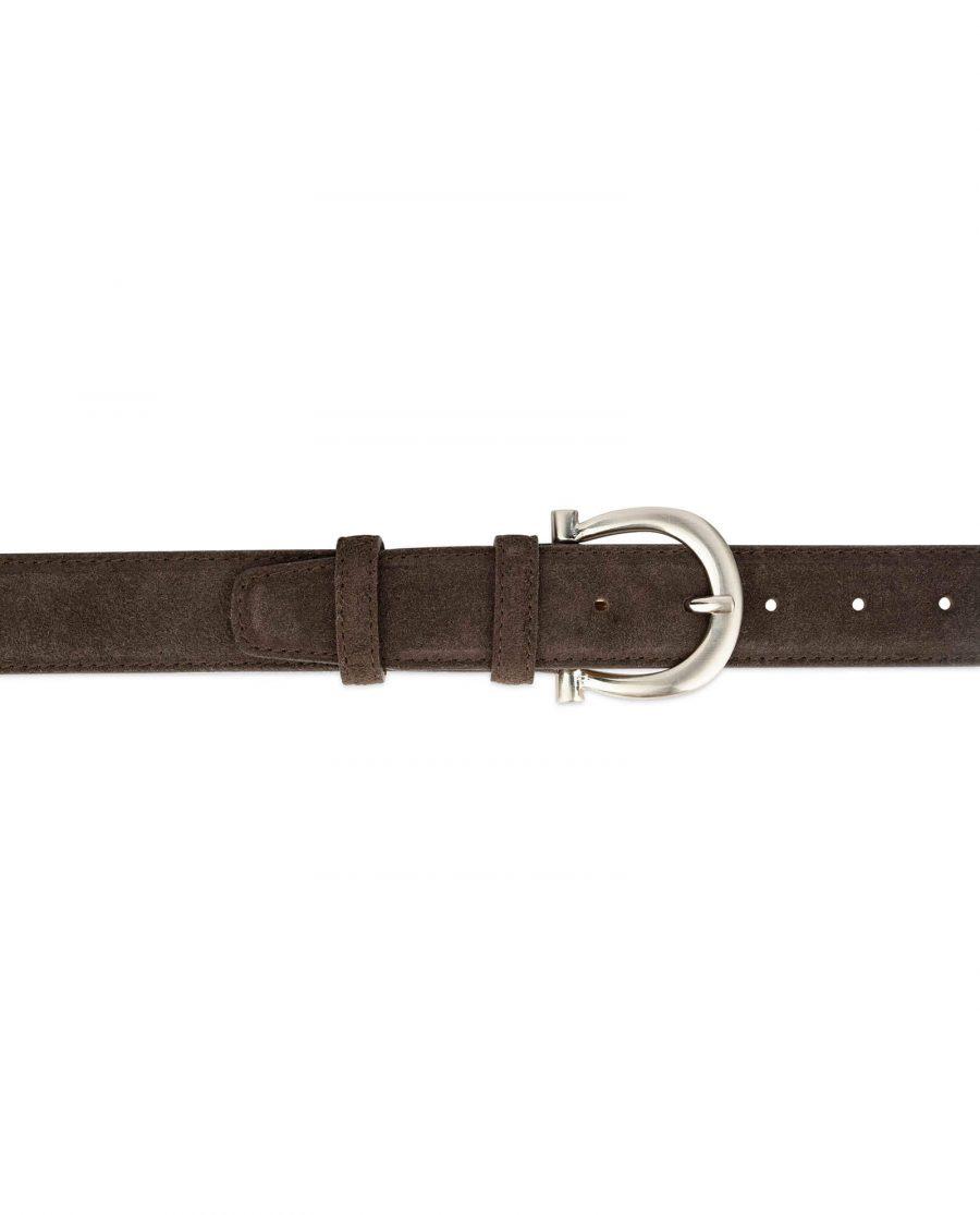 womens brown suede belt with italian buckle 4
