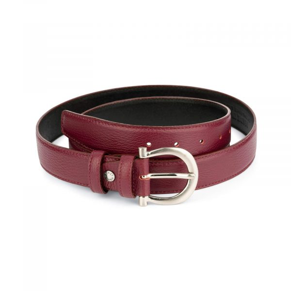 womens burgundy belt with italian buckle 1