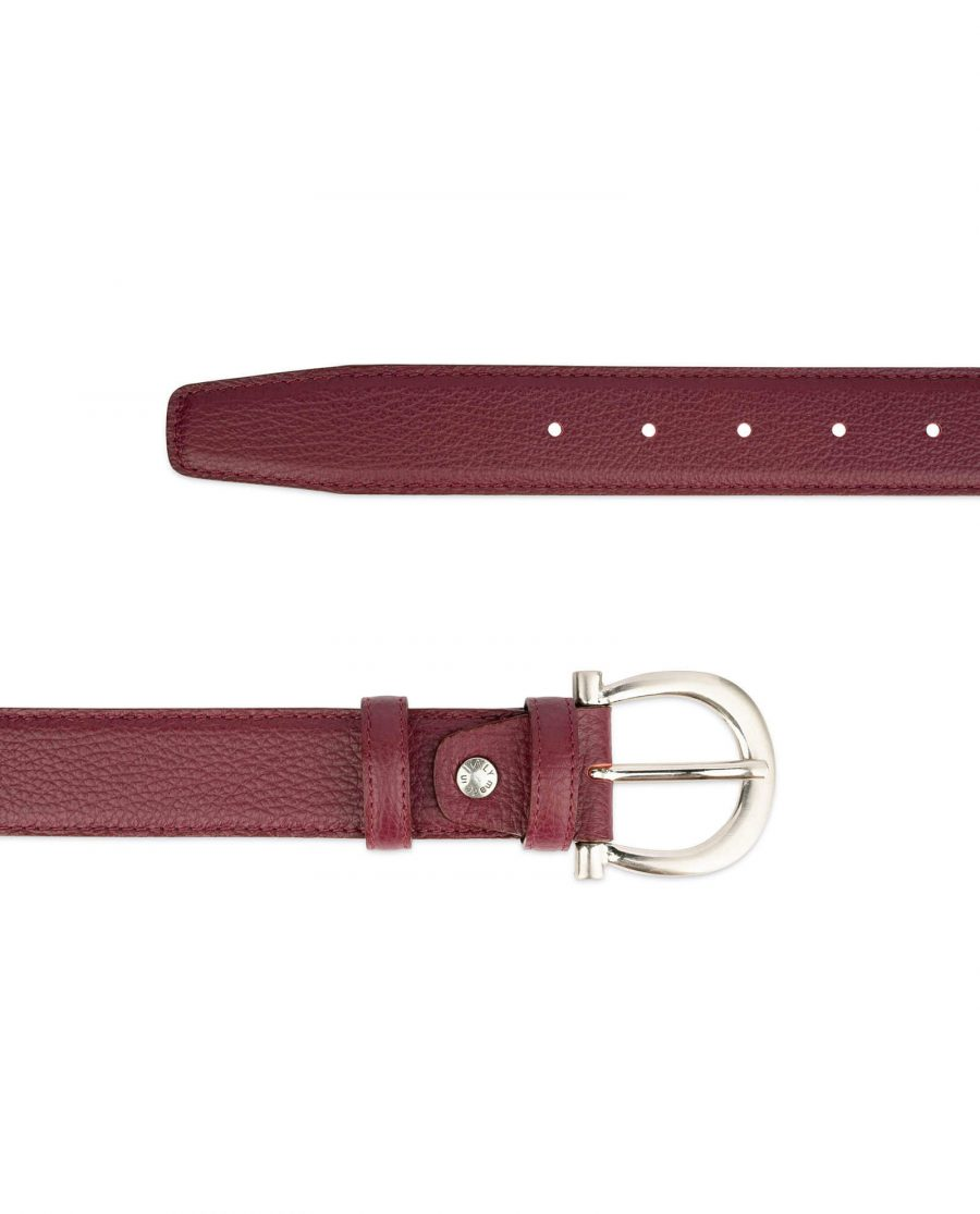 womens burgundy belt with italian buckle 2