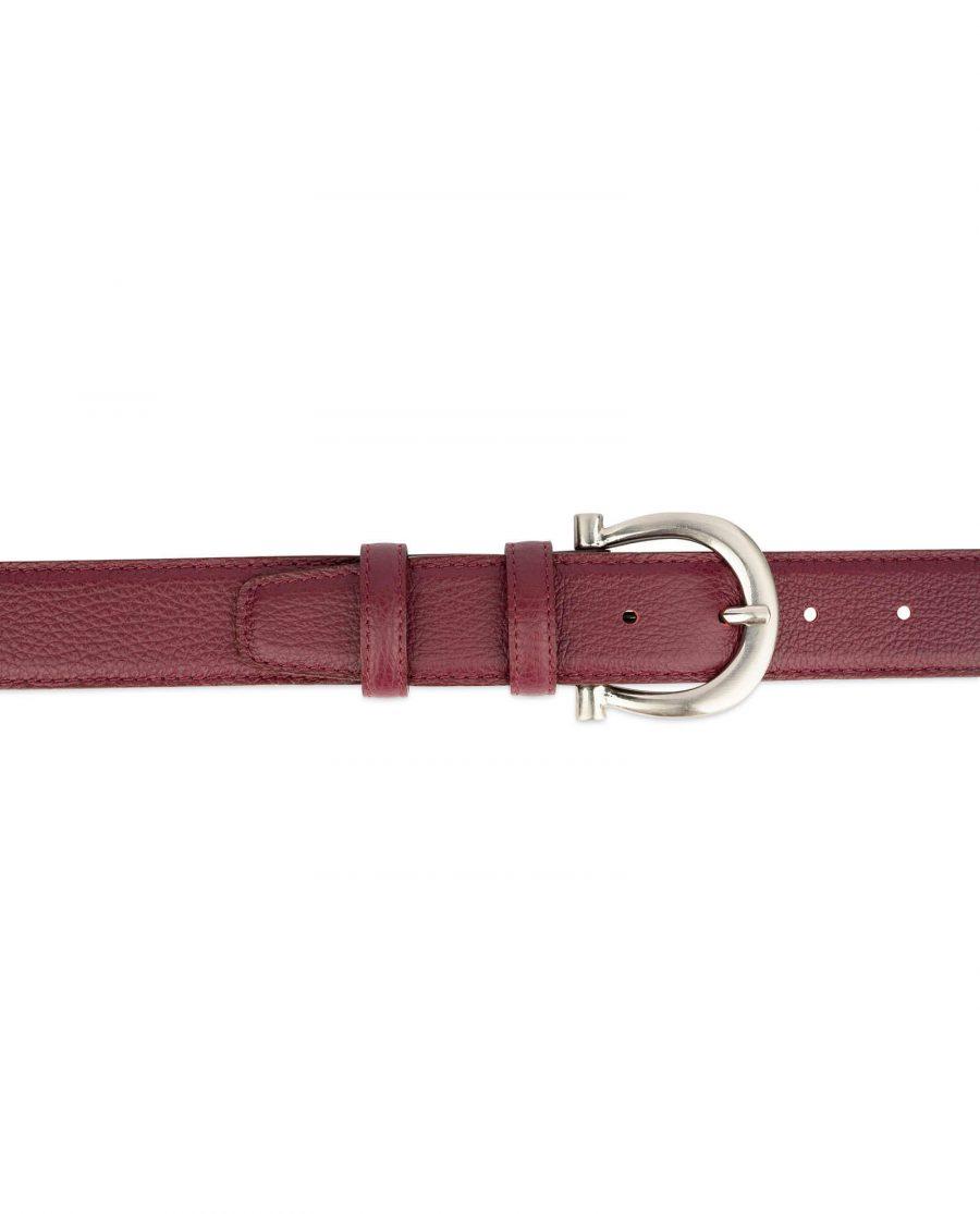 womens burgundy belt with italian buckle 3