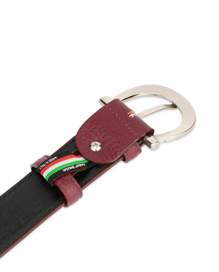 womens burgundy belt with italian buckle 4