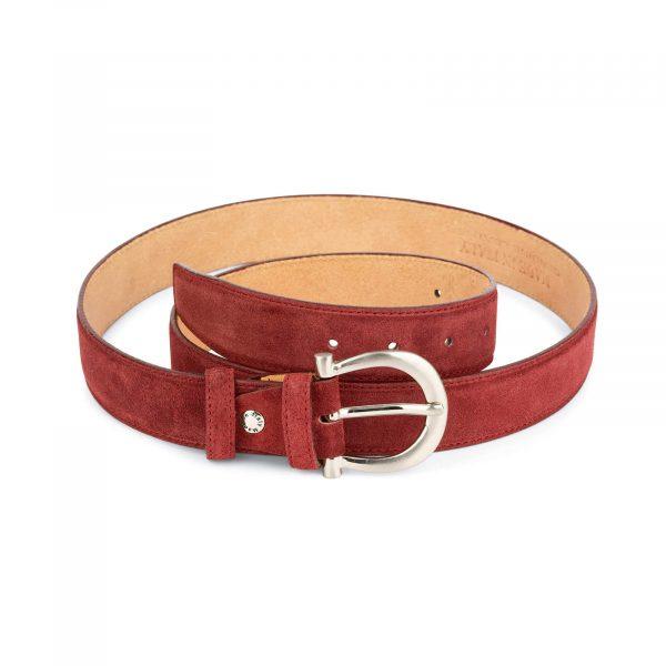 womens burgundy suede belt with italian buckle 1