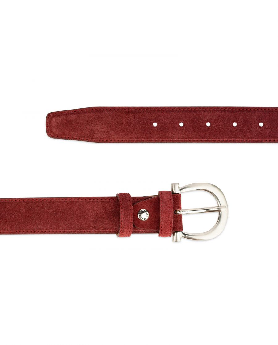 womens burgundy suede belt with italian buckle 2