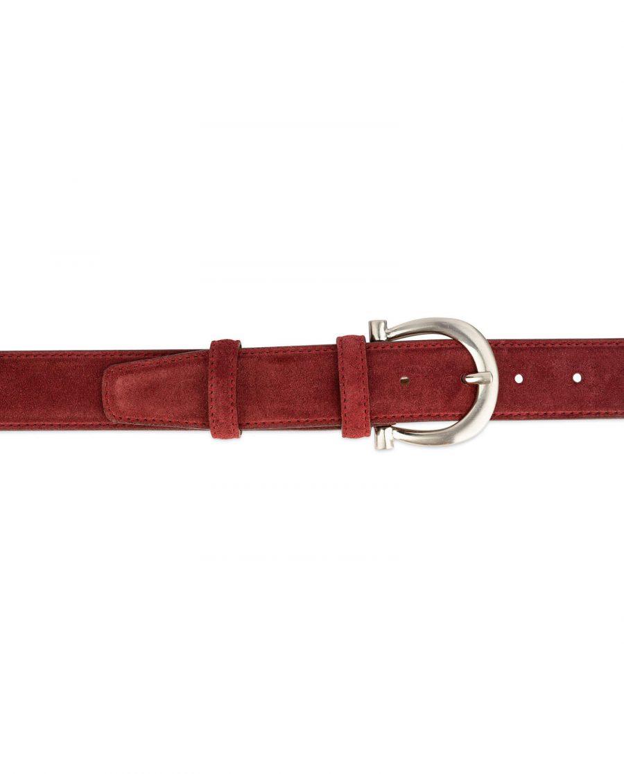 womens burgundy suede belt with italian buckle 3