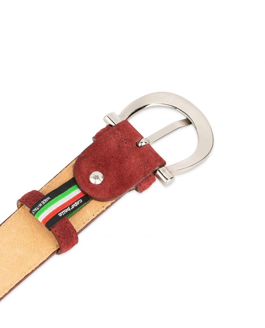womens burgundy suede belt with italian buckle 4